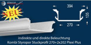 Stuckprofil für Kombi Beleuchtung Essen 270+2x202 PLEXI PLUS