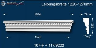 Stuck Fassade Tympanon gerade Leipzig 107F/117 1220-1270