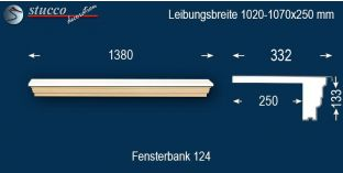 Komplette Fensterbank Mainz 124 970-1020-250