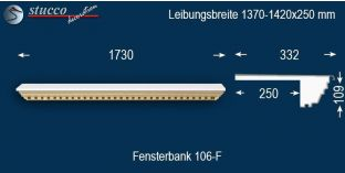 Komplette Fensterbank Willich 106F 1370-1420-250