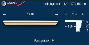 Komplette Fensterbank Jena 124 1420-1470-150