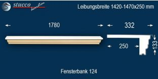 Komplette Fensterbank Lengenfeld 124 1420-1470-250
