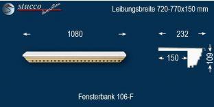 Komplette Fensterbank Hünfeld 106F 720-770-150