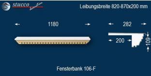 Komplette Fensterbank Soest 106F 820-870-200