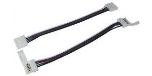 Verbinder / Connector für RGBW RGB+W 10mm LED-Streifen ; 2 Clips + 1 Kabel
