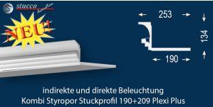 Stuckleiste für Kombi Beleuchtung Dortmund 190+209 PLEXI PLUS