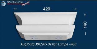 Design Stucklampe Augsburg 304/205 mit warmweißen LED Spots und RGB LED Strip