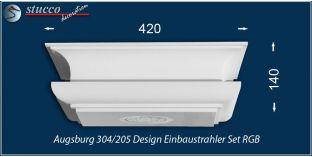 Augsburg 304/205 Einbaustrahler Set mit Stuck und LEDs - mehrfarbig RGB
