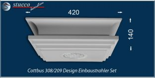 Cottbus 308/209 Einbaustrahler Set mit Stuck und LEDs - warmweiss