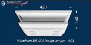 Design Stucklampe Mannheim 303/202 mit warmweißen LED Spots und RGB LED Strip
