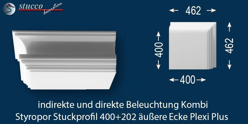 Äußeres Eckelement LED Profil 400+202 PLEXI PLUS
