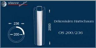 Dekosäulen-Viertel Hartschaum OS 200/236