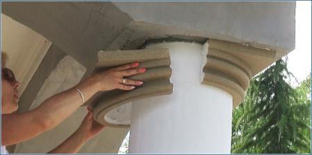 Säulenkapitell Styropor an Dekosäule anbringen